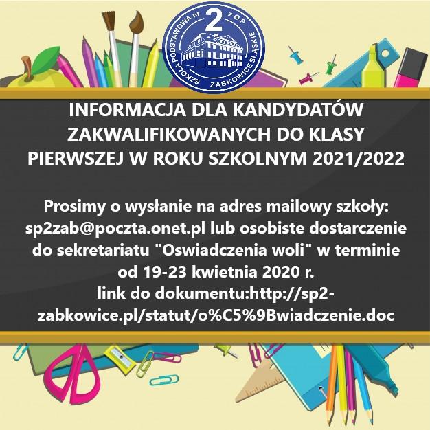 Informacja dla kandydatów zakwalifikowanych do klasy 1.